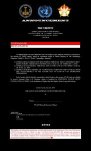 NOTICE OF ANNOUNCEMENT for Citizens of the World 30 7 20162